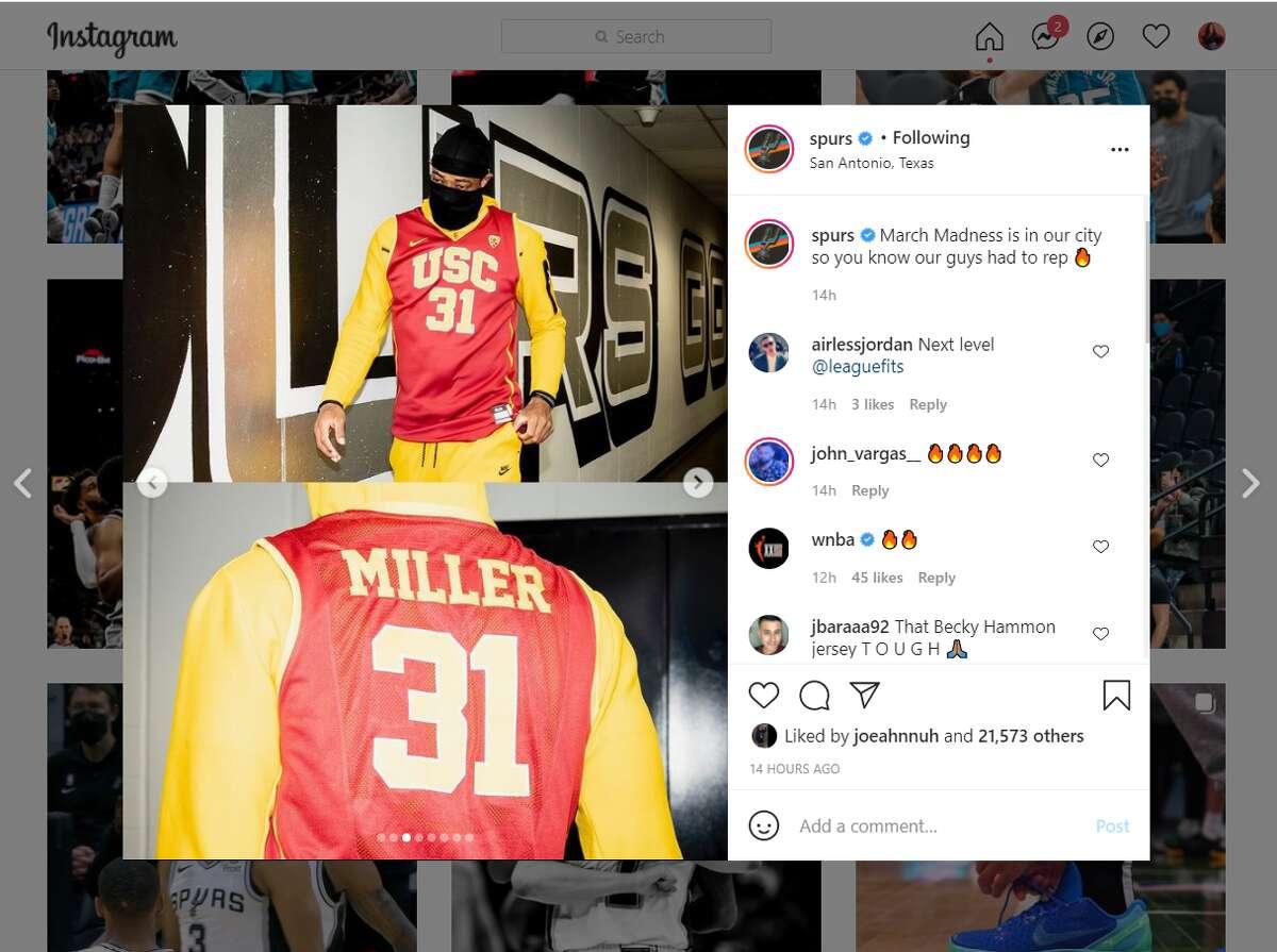 DeMar DeRozan sporting Cheryl Miller's USC jersey.