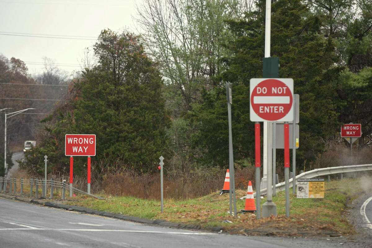 A file photo of high-tech wrong-way signs installed by the state Department of Transportation at the Interstate 84 west Exit 8 off ramp in Danbury, Conn.