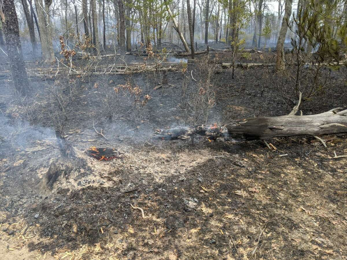 Crews working to contain a Manistee County wildfire are looking to have it contained by Friday.