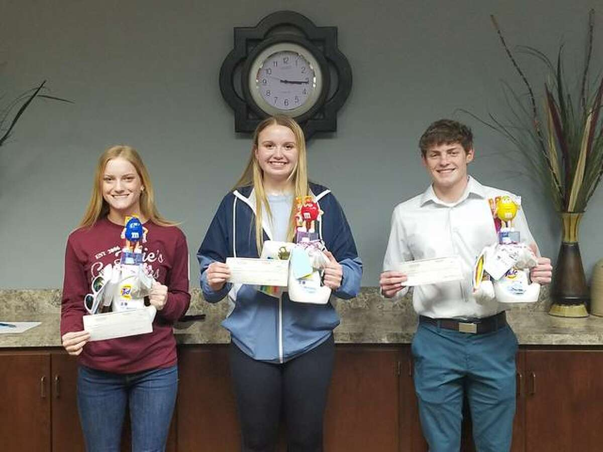 Jersey State Bank has honored, from left, Kaylee Vahle, Boston Talley and Cole Spencer in this year's essay scholarship contest.