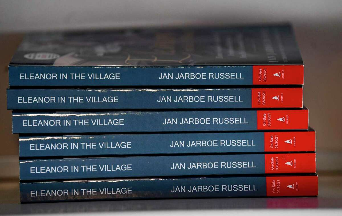 """A small stack of advance copies of """"Eleanor in the Village: Eleanor Roosevelt's Search for Freedom and Identity in New York's Greenwich Village"""" in Jan Jarboe Russell's San Antonio home."""