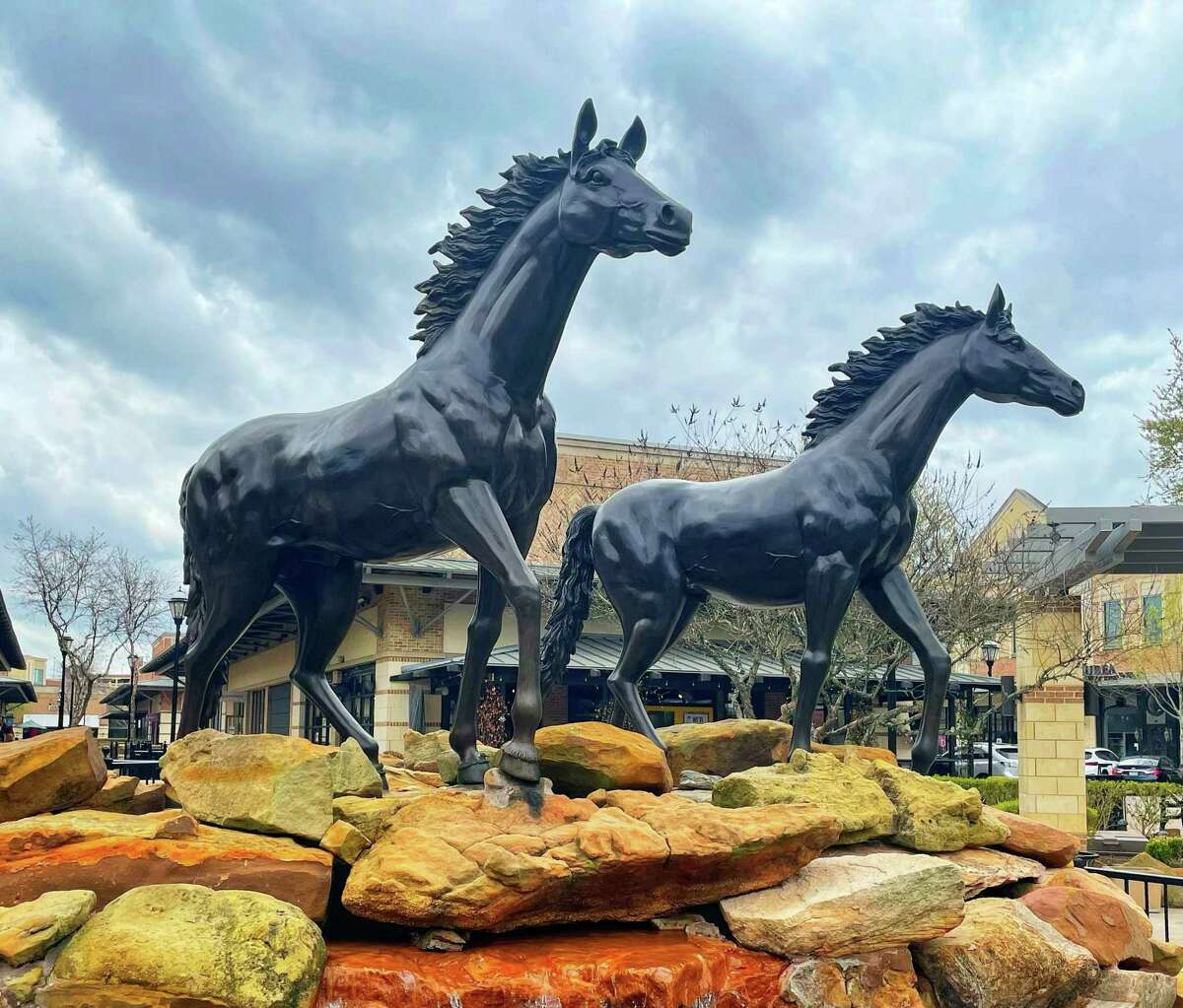 The LaCenterra horse fountain on March 22, 2021.