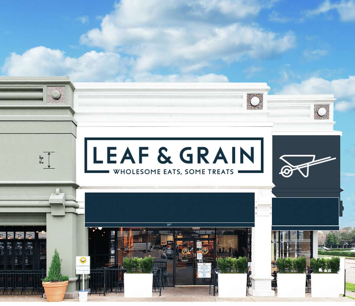A rendering of the Leaf & Grain restaurant planned to open this summer in Weslayan Plaza.