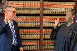 Acting U.S. Attorney Mark J. Lesko, who was a member of the trial team that prosecuted NXIVM leader Keith Raniere, being sworn in by U.S. Chief Judge for the Eastern District of New York Margo K. Brodie at the federal courthouse in Brooklyn.