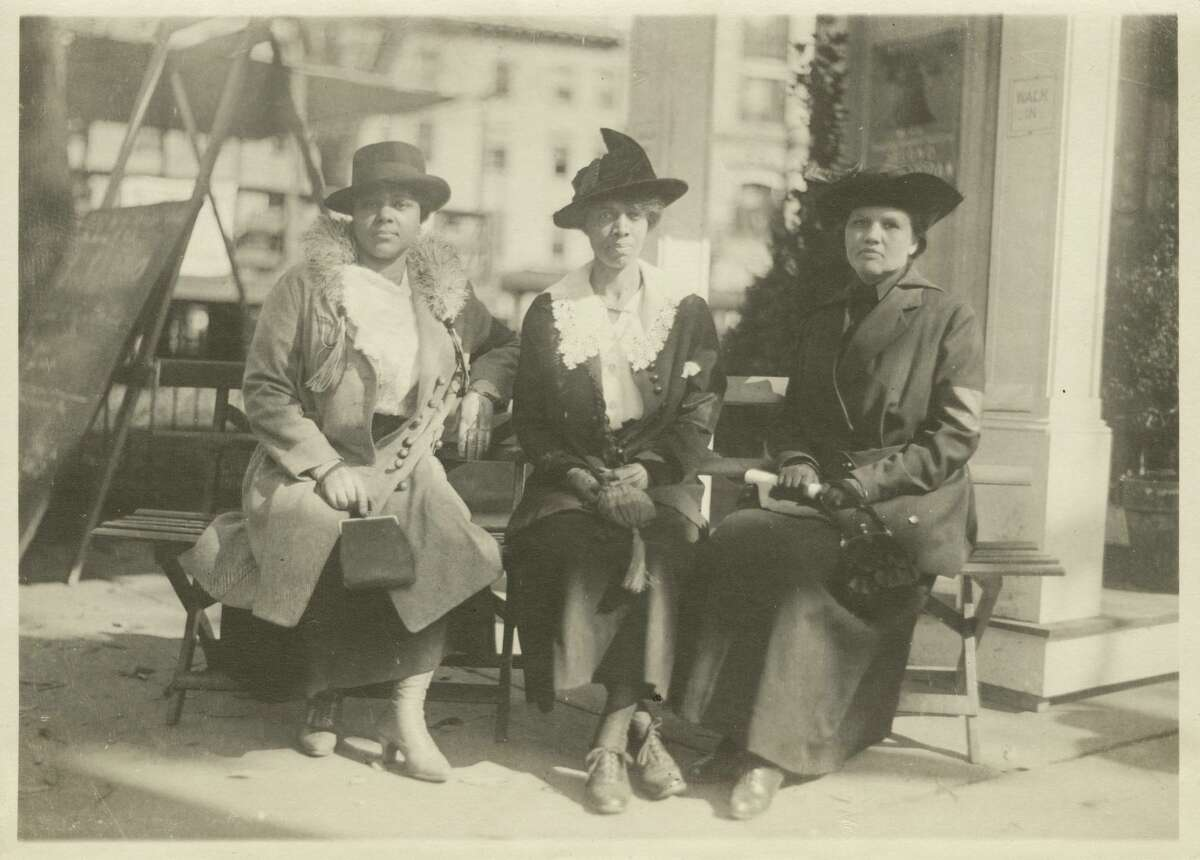 Colored Women's Liberty Loan Committee, October 21, 1917, RG012, State Archives, Connecticut State Library | From left to right, Elizabeth R. Morris, Mary A. Johnson, and Rosa J. Fisher