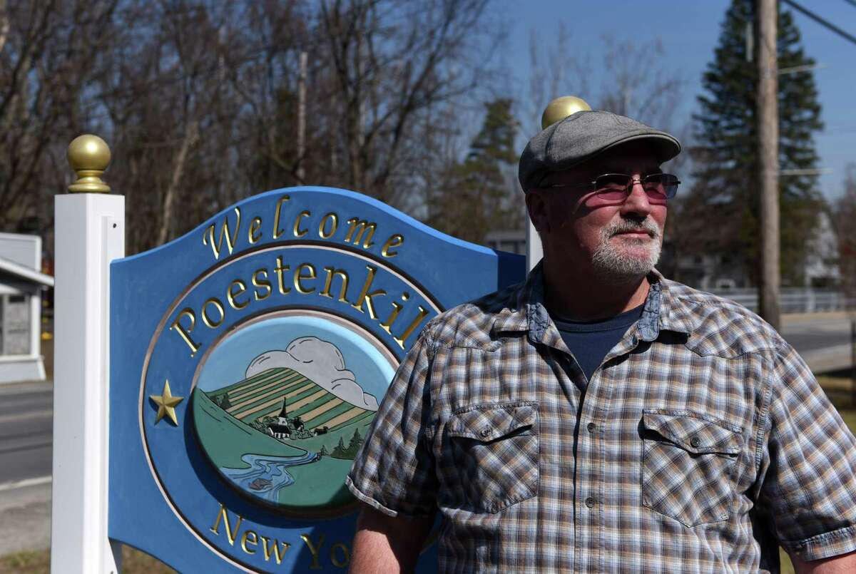 Poestenkill Supervisor Keith Hammond is pictured outside town hall on Tuesday, March 23, 2021, in Poestenkill, N.Y. Supervisor Hammond is leading the fight to create an ambulance district to fund ambulance service. A vote will be held on March 30. Creating the district will allow the town to have mutual aid with the neighboring districts that can't under state law until there is a district. (Will Waldron/Times Union)