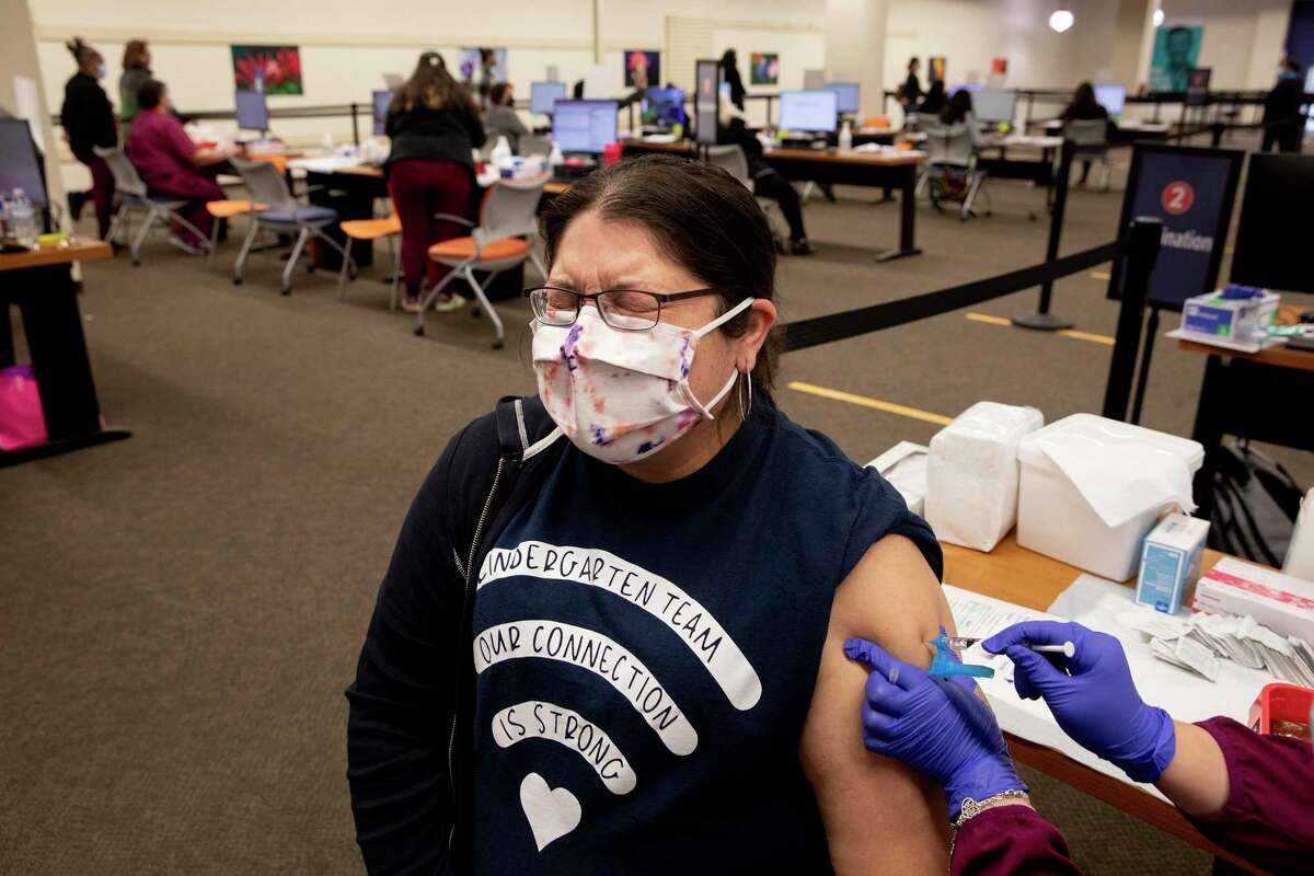 Angelique Rodriguez, who teaches kindergarten for SAISD, was one of 5,000 employees to be vaccinated at a two-day clinic last March.