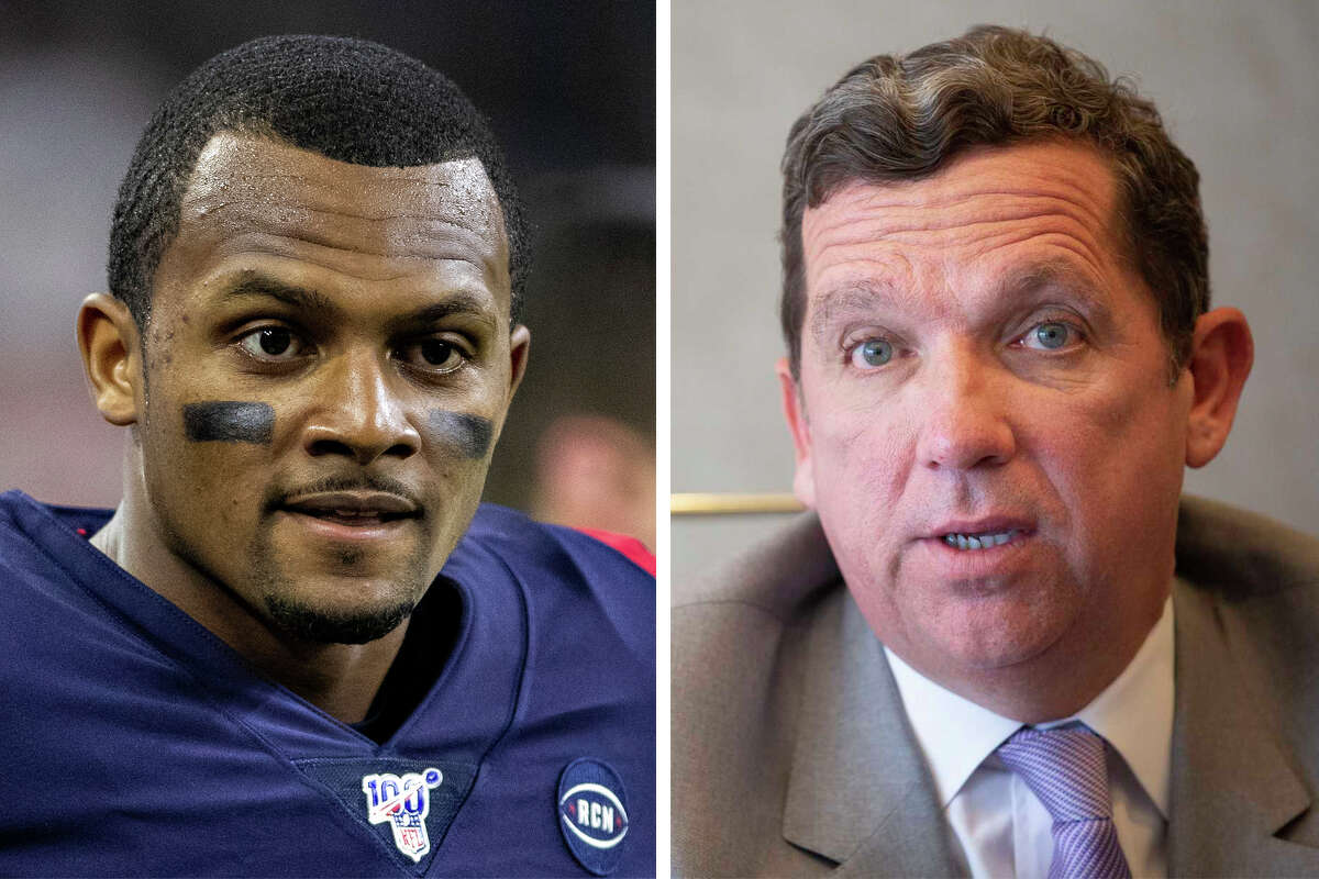 Attorney Tony Buzbee and Texans quarterback Deshaun Watson are pictured together in this composite photo.