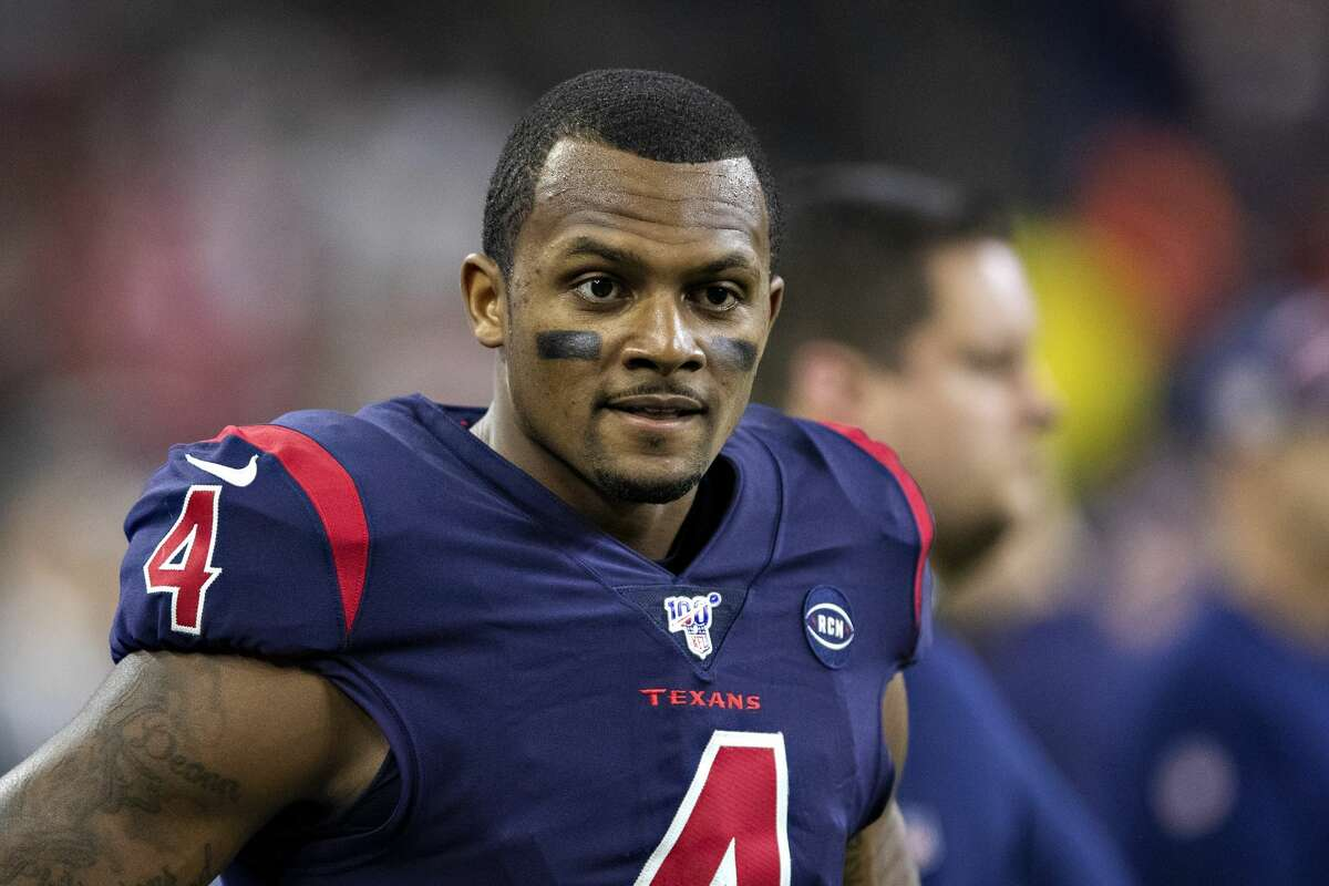 Texans quarterback Deshaun Watson on the sidelines in the second half of a game against the Patriots at NRG Stadium on December 1, 2019 in Houston, Texas.