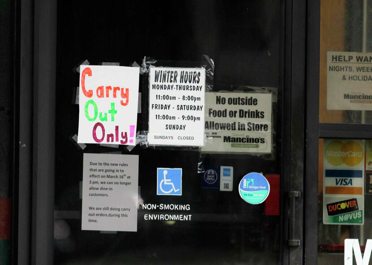 One year ago restaurants and businesses were forced to close their doors to the public due to the coronavirus pandemic. Now with numbers again on the rise, Huron County Public Health Officer Ann Hepfer is concerned lockdowns could happen again, unless the trend improves. (Mark Birdsall/Tribune File Photo)