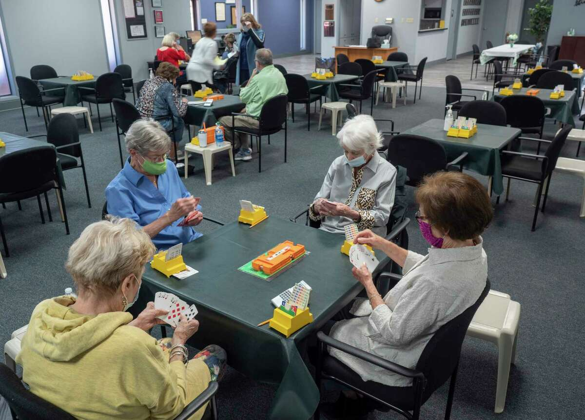 Bridge players enjoy an afternoon game 03/23/21 in the renovated Allison Bridge Center. Tim Fischer/Reporter-Telegram