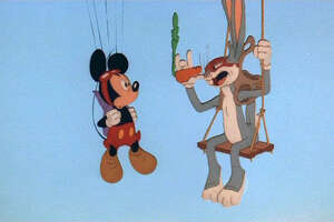 Mickey Mouse (originally known as Mortimer Mouse), left, born in 1928, makes his only screen appearance in 1988 with Bugs Bunny (who has variously given his birth year as 1938, 1939 or 1940).
