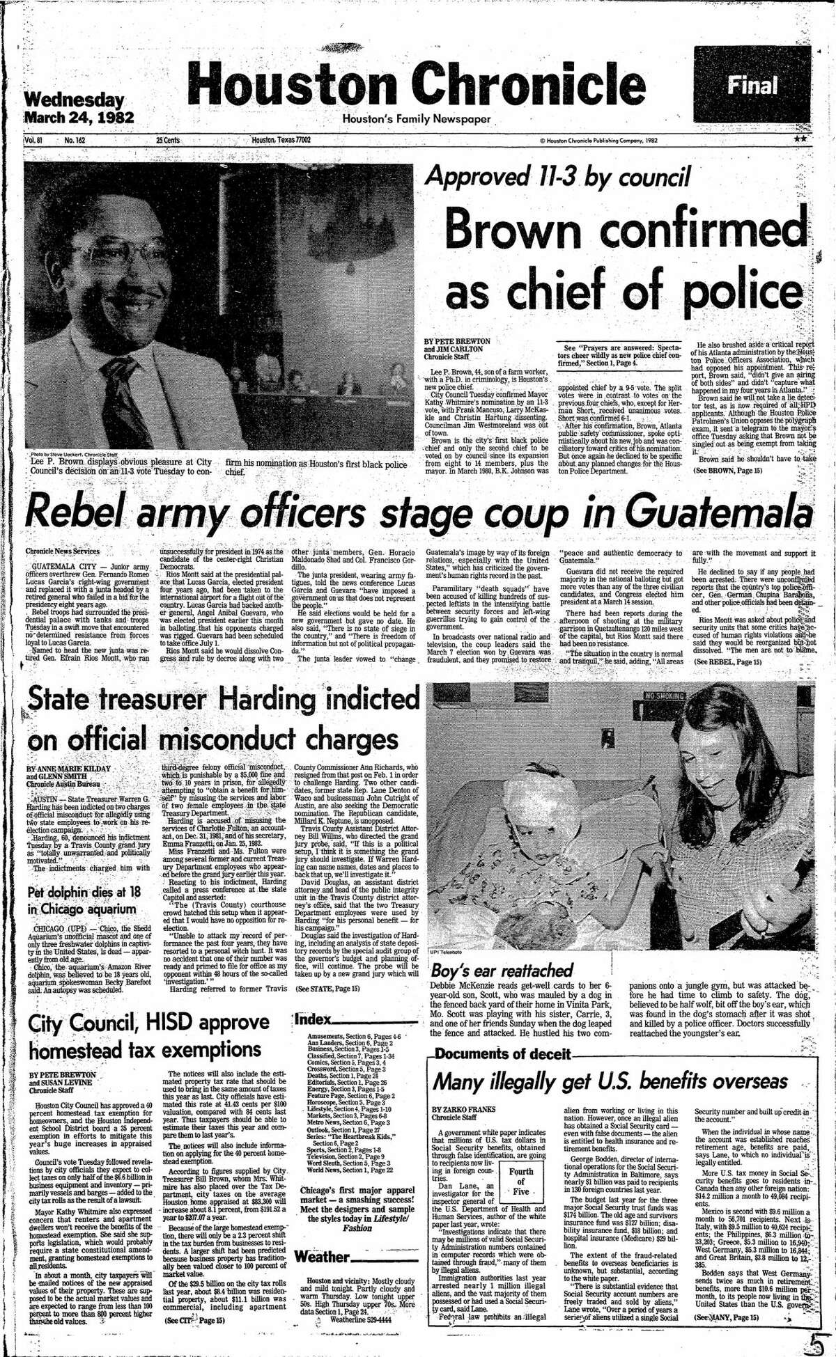 Houston Chronicle front page from March 24, 1982.