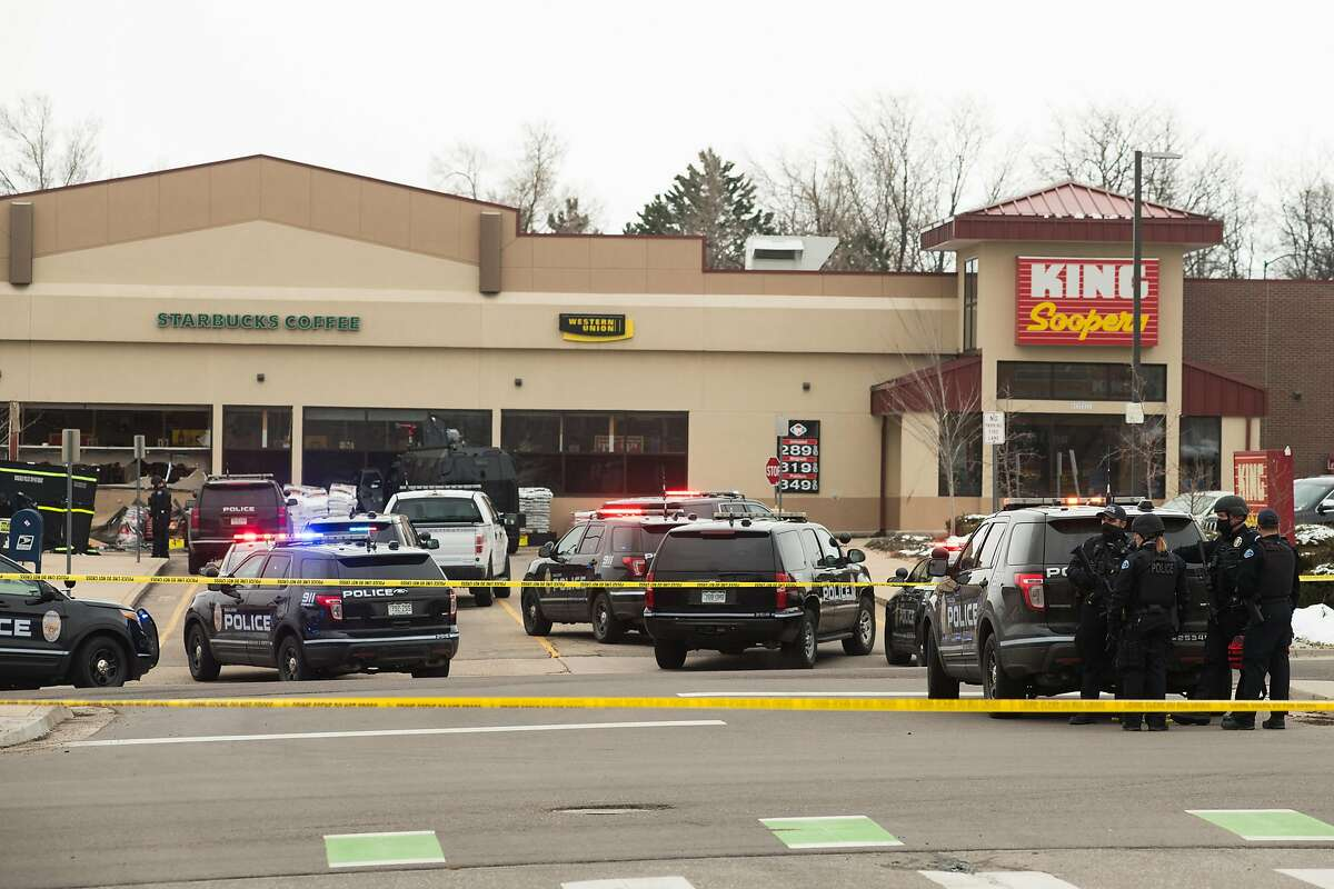 The Boulder King Soopers grocery store, where 10 people were shot to death Monday, in Boulder, Colo. Ten days before the shooting, a Colorado judge blocked the city from enforcing its ban on semiautomatic rifles - the type of firearm police say was used to kill the 10 people. at a Boulder supermarket 10 days later