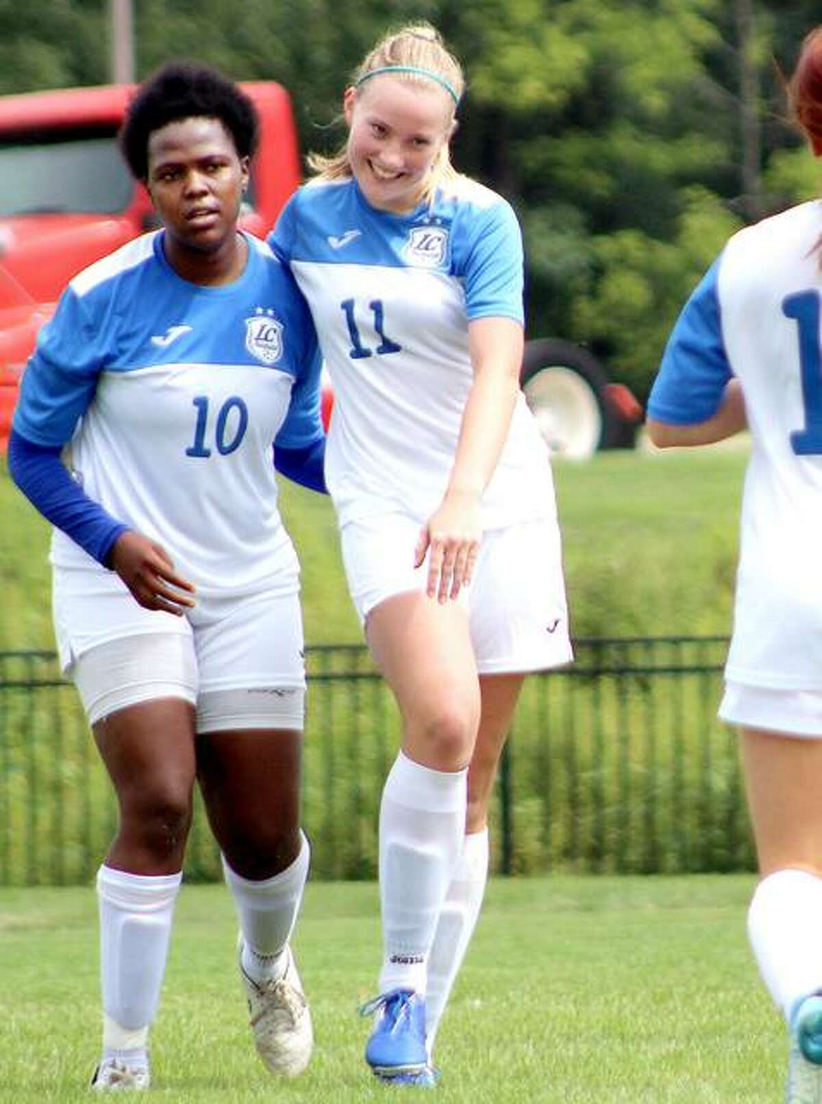 LCCC's Candice Parziani, right, is all smiles after scoring from an assist by teammate Boitumelo Rabale during the 2019 season. Parziani, who scored 31 goals as a freshman, returns for the spring season for LC. Rabale, who was national Player of the Year with 57 goals in 2019, has graduated. LCCC starts its season April 3 at home against Triton College.