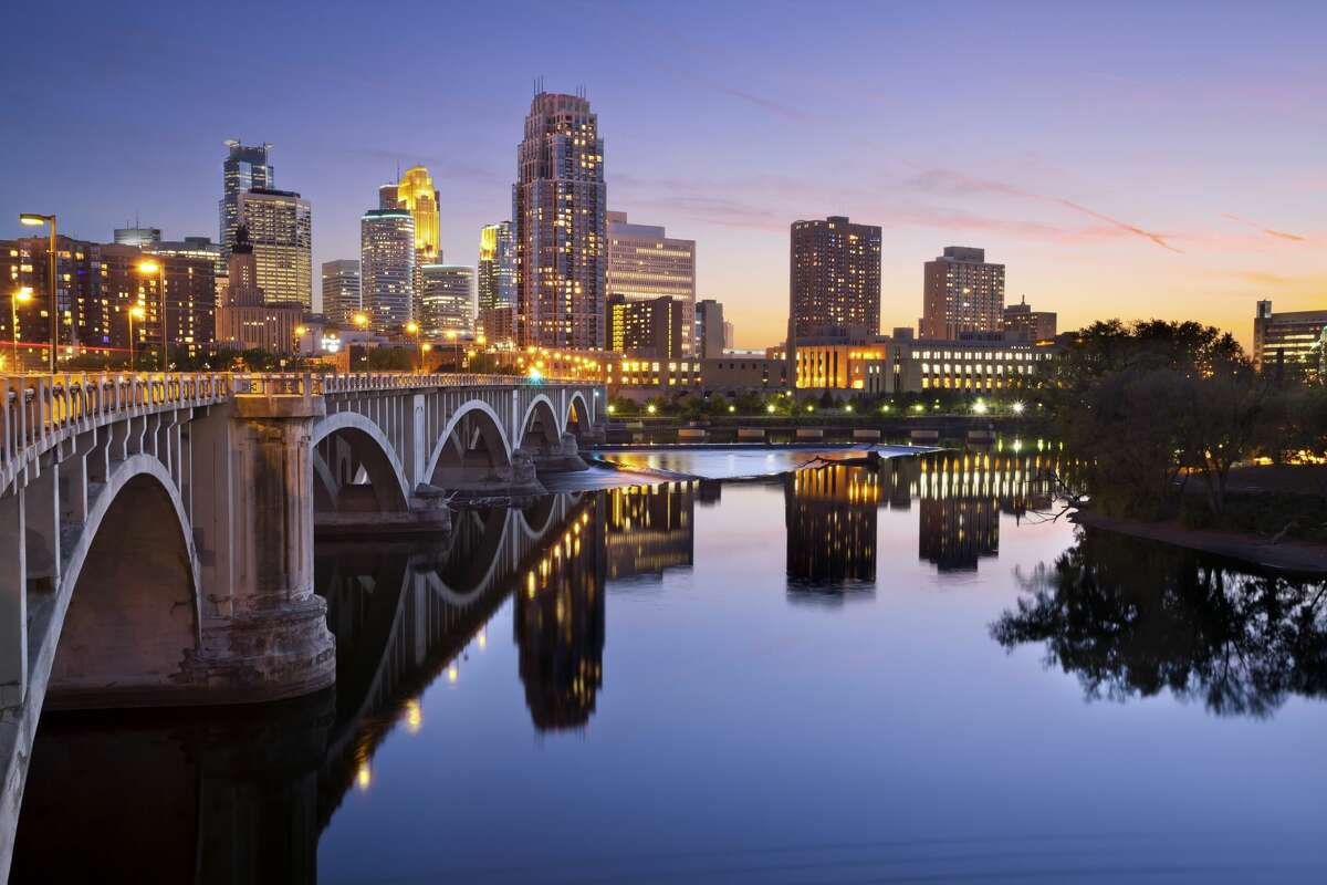 The Minneapolis downtown skyline at sunset.