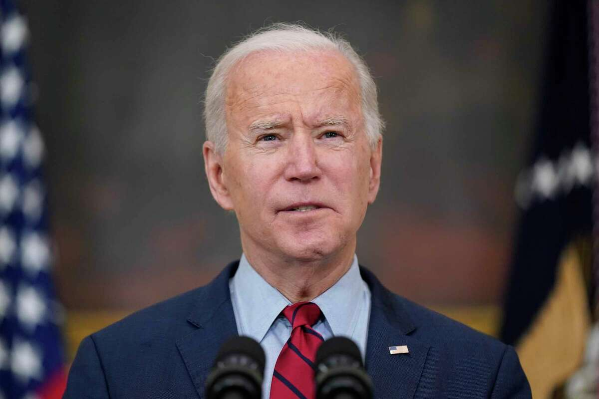 President Joe Biden speaks about the shooting in Boulder, Colo., Tuesday, March 23, 2021, in the State Dining Room of the White House in Washington. (AP Photo/Patrick Semansky)