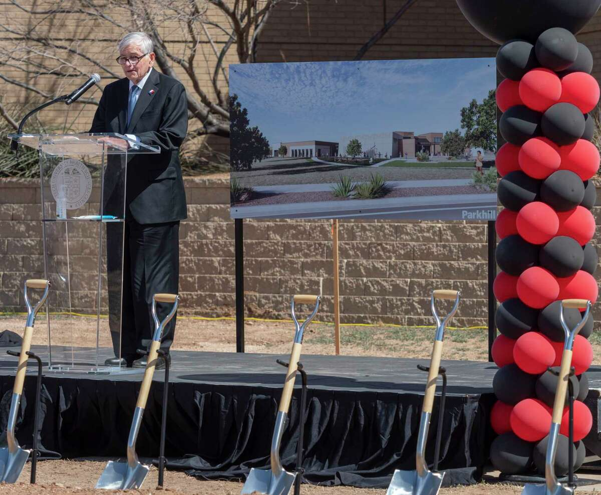 Texas Rep Tom Craddick talks about the importance of expanding the health care needs of the Permian Basin with the new Texas Tech University Health Sciences Center on Midland College campus Physician Assistant program 03/23/21 during a ground breaking ceremony. Tim Fischer/Reporter-Telegram