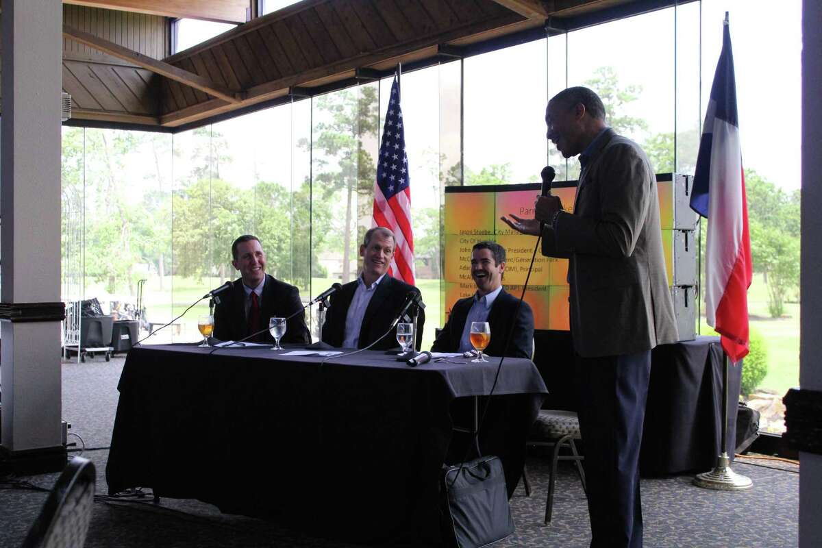 From left to right: Humble City Manager Jason Stuebe, McCord Development Sales and Leasing Director John Flournoy, McAlpine Interests Broker Adam McAlpine and Lake Houston Economic Development Partnership President Mark Mitchell speak at the State of the Lake Houston luncheon on April 30, 2019.