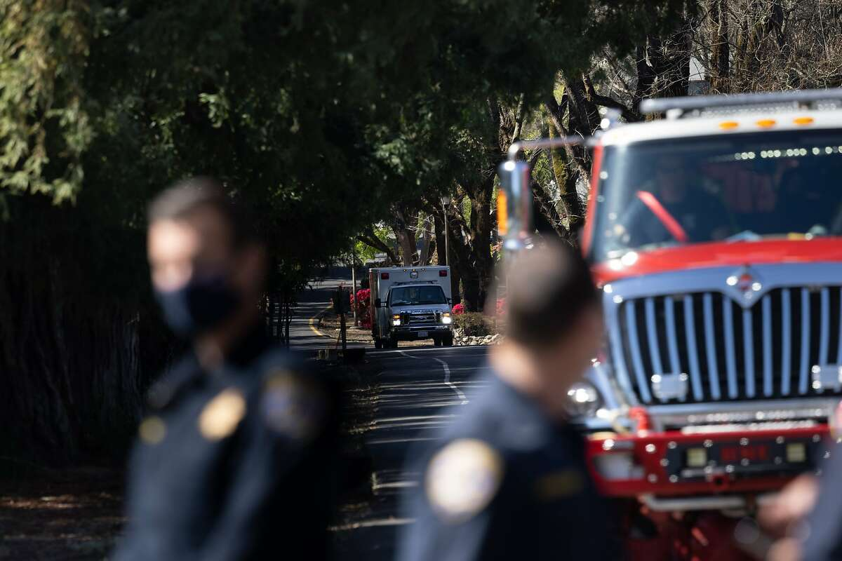 An emergency vehicle leaves the Yountville Veterans Home, after a report of a woman with a gun on Monday, March 23, 2021 in Yountville, Calif.