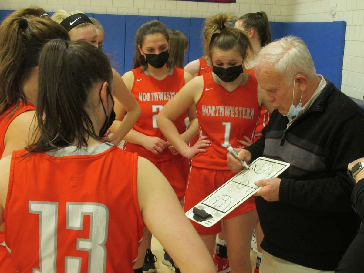 Northwestern coach Fred Williams mapped potential ways out of three fourth-quarter ties in a Berkshire League girls basketball tournament semifinal loss to Nonnewaug Tuesday afternoon at Nonnewaug High School.