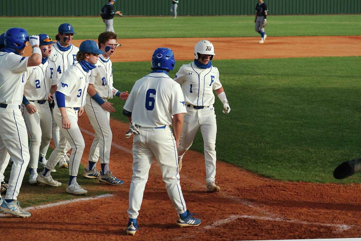 Friendswood's Dylan Maxcey (1) drove in six runs Saturday to power the Mustangs to their 26th win without a loss.