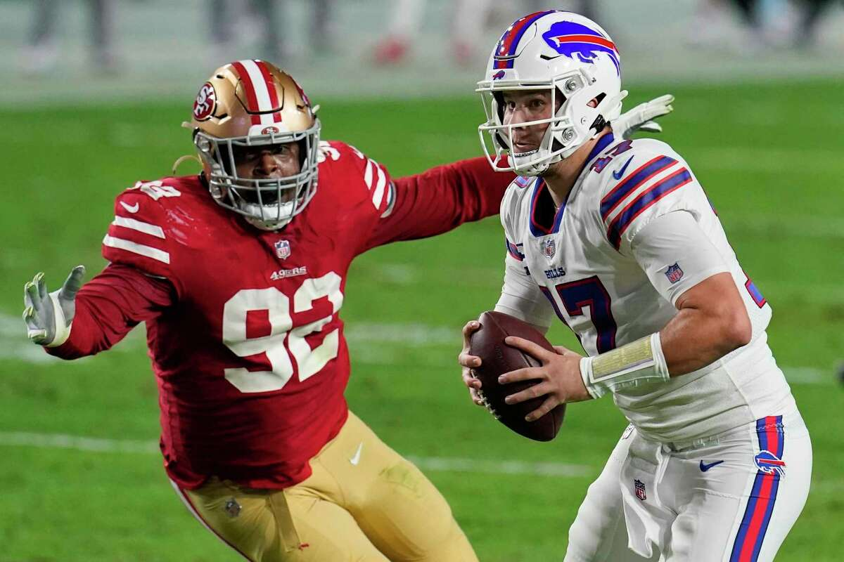 The Bills' Josh Allen has shown remarkable improvement in his accuracy, going from 52.8% as a rookie to 69.2% last year.