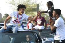 The community celebrated Beaumont United boys basketball's state championship victory Tuesday with a parade and pep rally at BISD Memorial Stadium. Photo made Tuesday, March 23, 2021 Kim Brent/The Enterprise