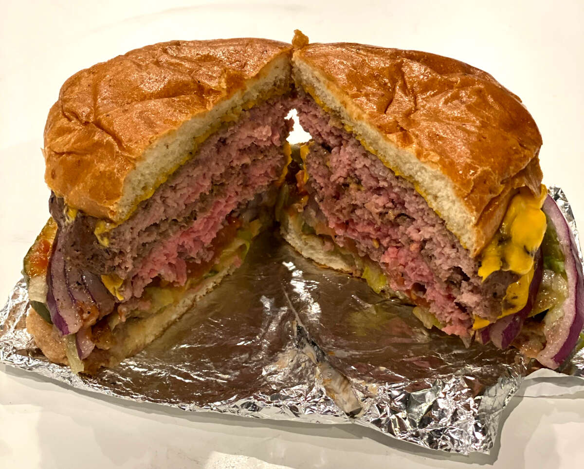 Double cheeseburger from Juicy Burgers & More in Milton. (Susie Davidson Powell/Times Union.)