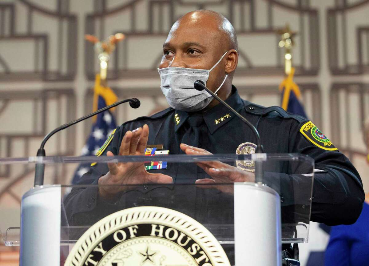 Houston Police Department Executive Assistant Chief Troy Finner speaks at a news conference last week. Finner will succeed Art Acevedo as chief of the Houston Police Department on April 5.