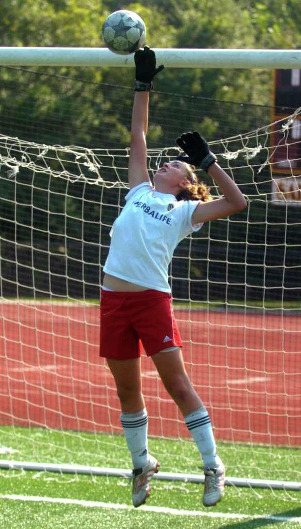 St. Joseph's Molly Meehan practices on the school's field Thursday, September 2, 2010.