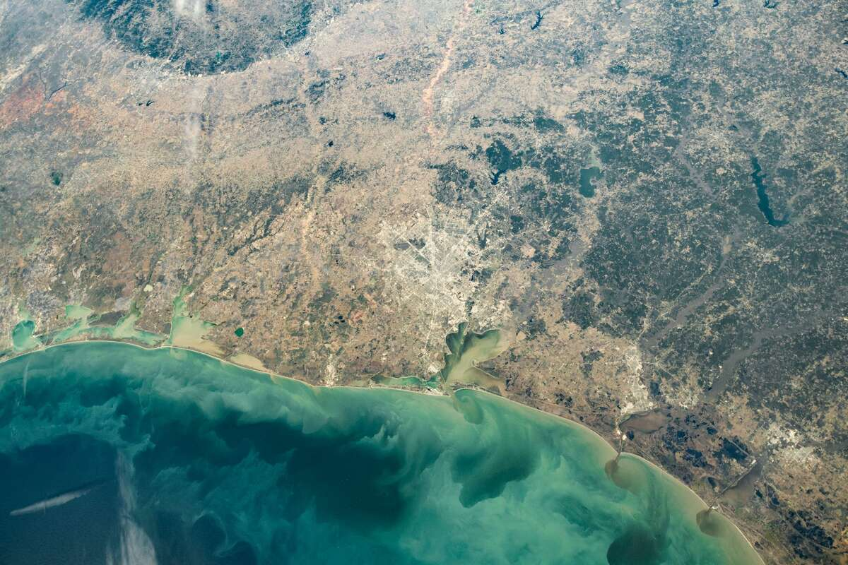 An astronaut on the International Space Station took this image of the Texas Gulf Coast on December 25, 2020, with a Nikon D5 digital camera using a 24 millimeter lens.