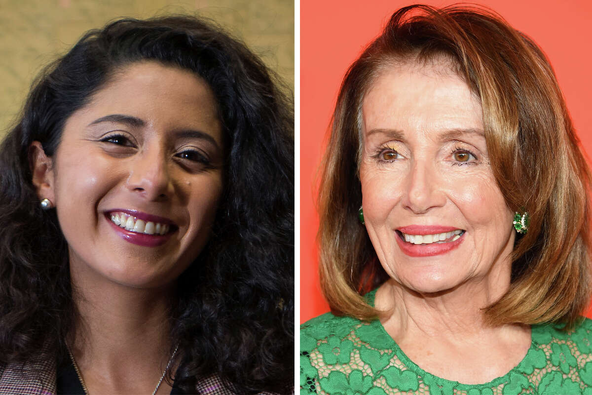 Harris County Judge Lina Hidalgo and House Speaker Nancy Pelosi are pictured together in this composite photo.