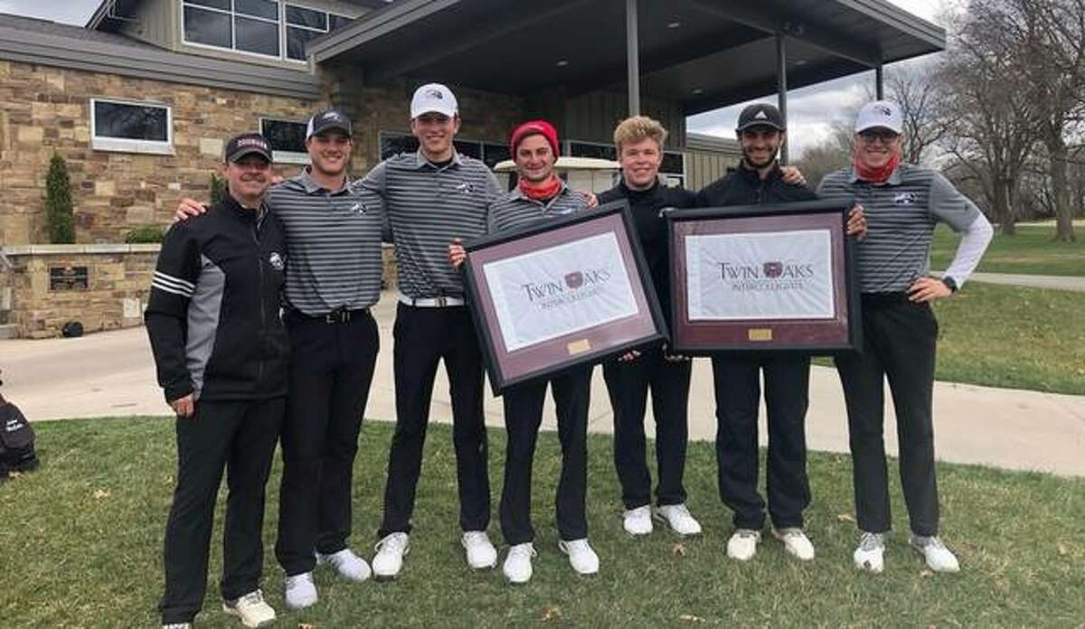 Members of the SIUE golf team pose together after collecting a tournament win at Missouri State on Tuesday.