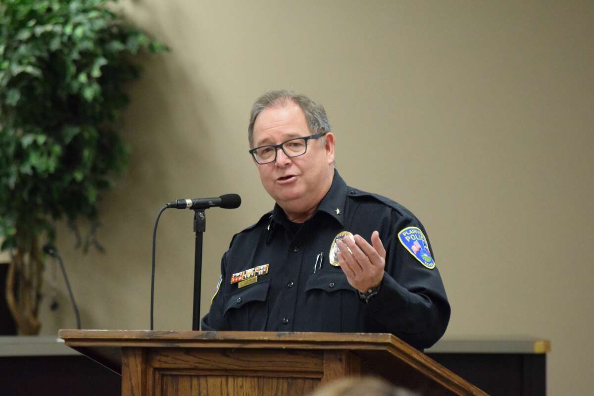 Police Chief Derrick Watson speaks during a special event to honor accomplishments by PD personnel through the last year.