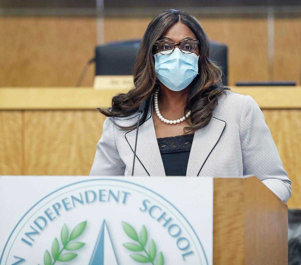 Houston ISD Interim Superintendent Grenita Lathan, pictured on March 8, said Wednesday that the district hopes to offer online-only classes to start the 2021-22 school year. Her comments came during the district's annual State of the Schools event, which was held virtually.