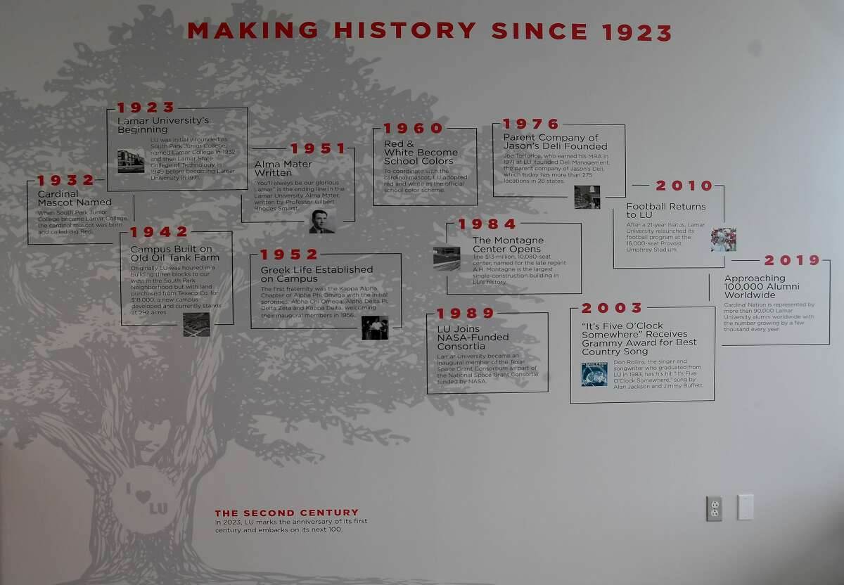 Lamar University's new Welcome Center opened this month. A family tree of landmarks at the college decorates one of the walls. Photo made Wednesday, March 24, 2021 Kim Brent/The Enterprise
