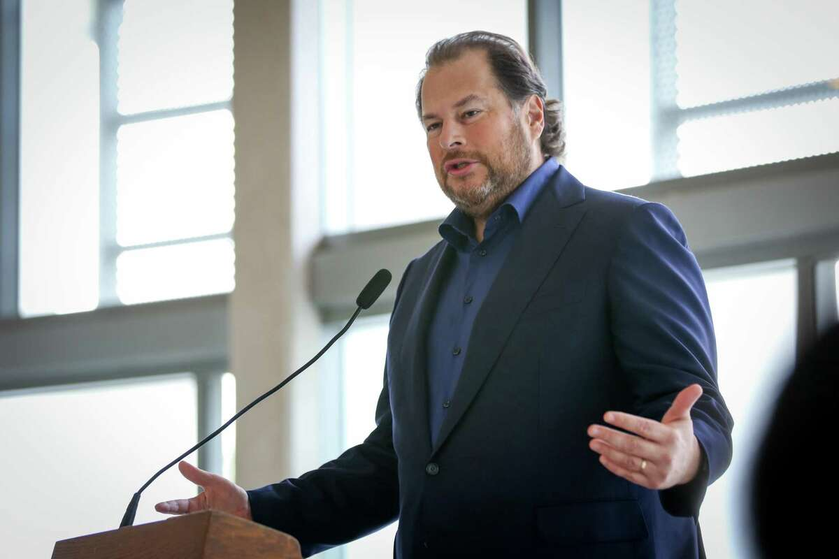 CEO of Salesforce Marc Benioff speaks at the press conference announcing the Heading Home campaign on Friday, Dec. 9, 2016 in San Francisco, Calif.