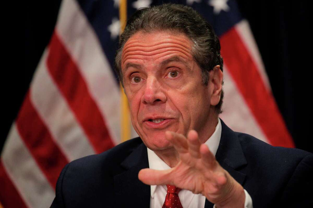 New York Governor Andrew Cuomo, speaking during a news conference at his office on March 24, 2021 in New York City. (GettyImages)