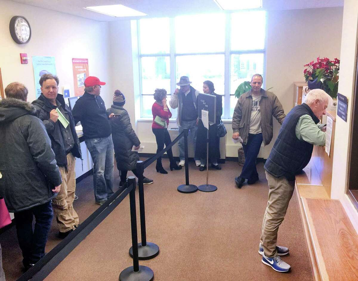 Lines at the Tax Collector's department in Town Hall, seen here in 2017, were once again seen on Monday morning as property tax payments are due by Aug. 2. No grace period like the one that was in place last year during the pandemic, is in place.