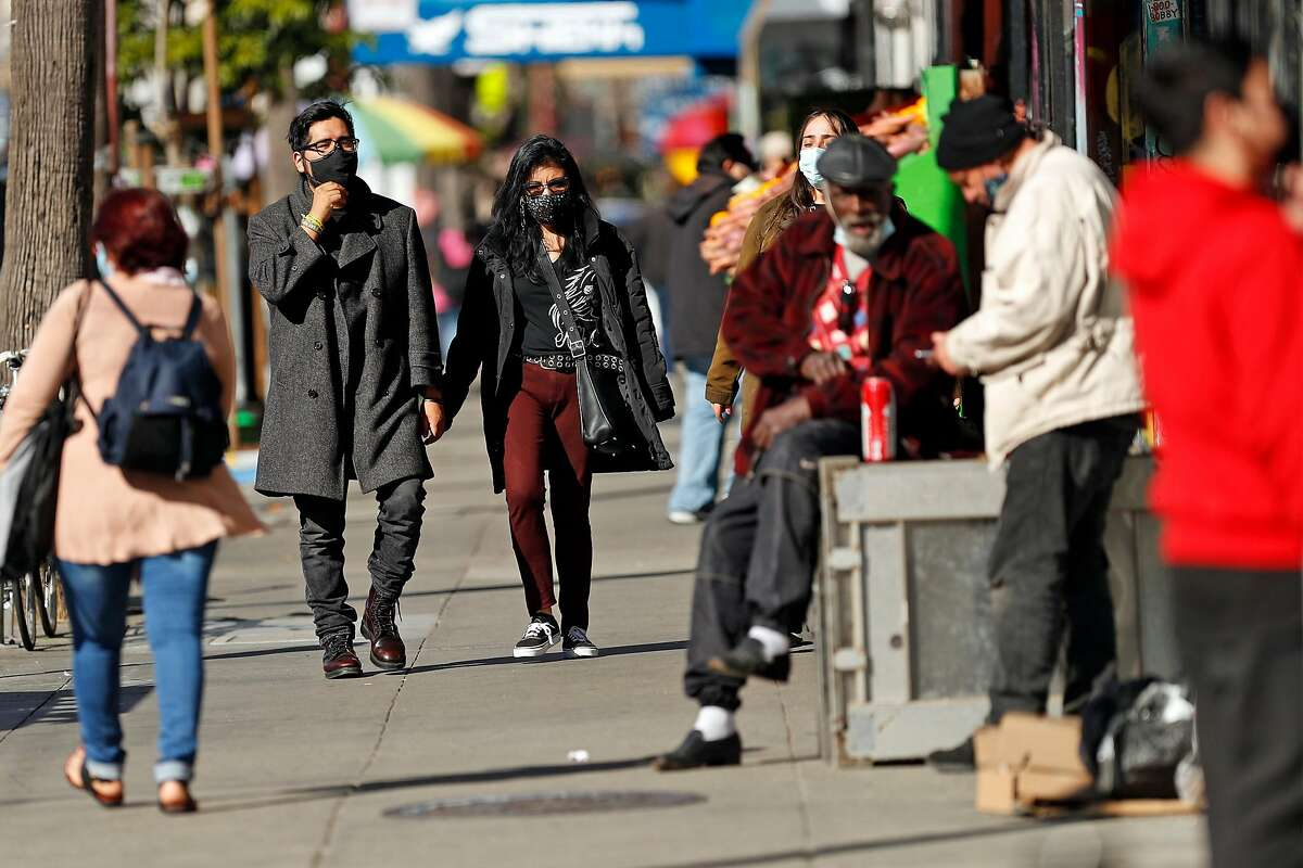 Pedestrians wear face coverings on Mission Street in San Francisco in February.