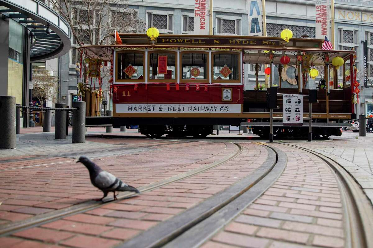 A pigeon walks past a cable car in San Francisco adorned in Lunar New Year decorations. SFMTA stopped all cable car service Thursday, Sept. 9, after a power outage at its cable car barn.