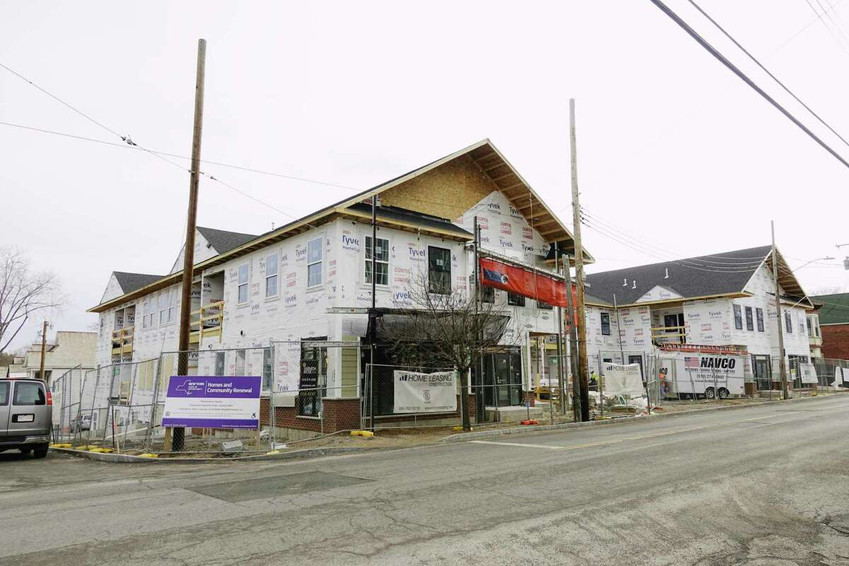 A view of new apartment construction at 823 Eastern Ave. on Wednesday, March 24, 2021, in Schenectady, N.Y. (Paul Buckowski/Times Union)