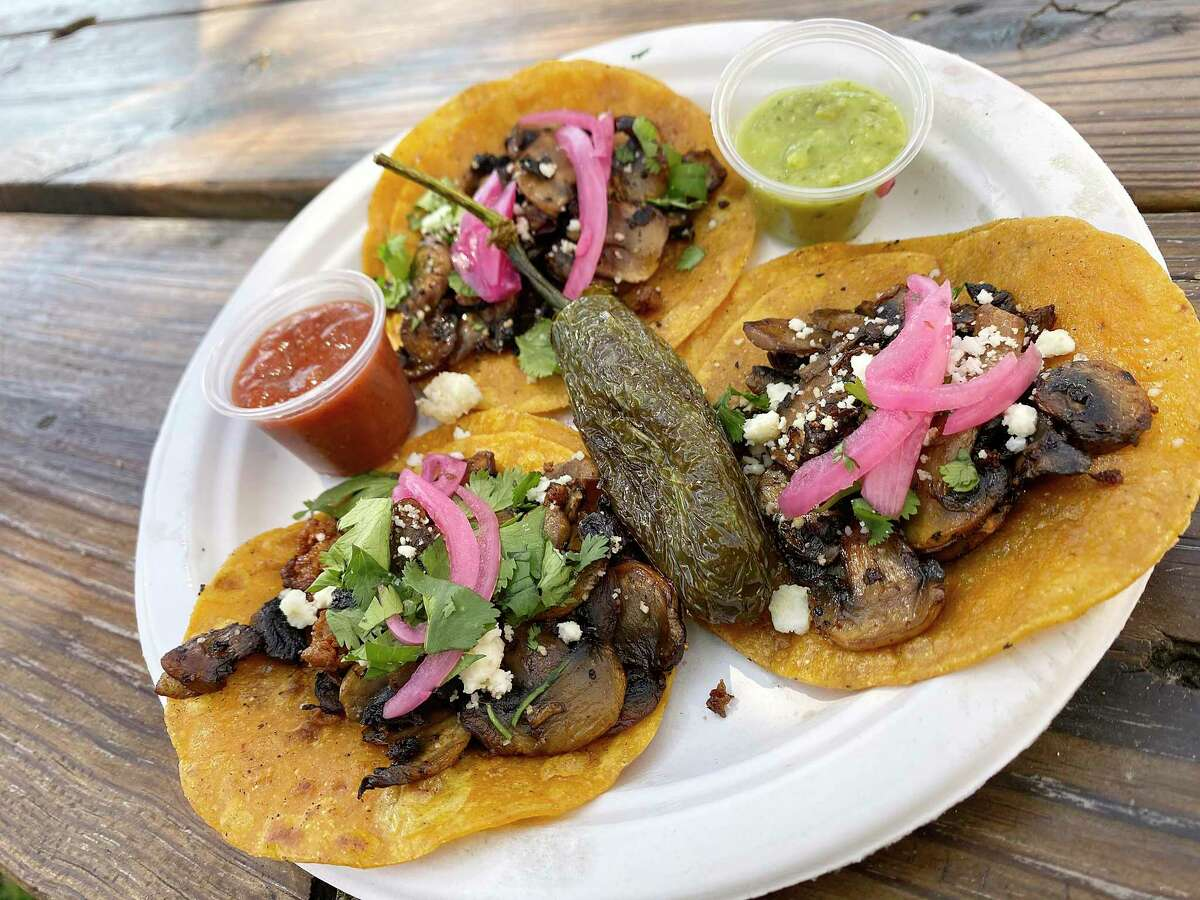 Spicy mushroom tacos come three to an order at Milpa, a food trailer from chef Jesse Kuykendall that specializes in tacos, pozole and quesadillas.