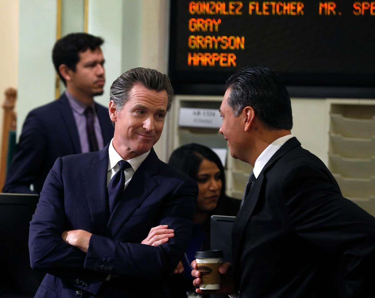 Then-Lt. Gov. Gavin Newsom in 2018 with Secretary of State Alex Padilla, whom Newsom appointed to the U.S. Senate.
