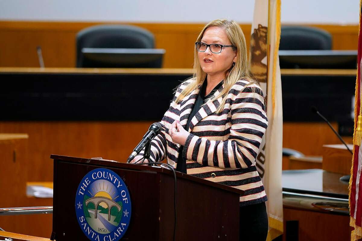 Cindy Chavez, President of the Santa Clara County Board of Supervisors. speaks during a news conference on Tuesday, March 31, 2020, in San Jose, Calif. Chavez authored a county measure to stock at least half of all public bathrooms in the county with free period products.