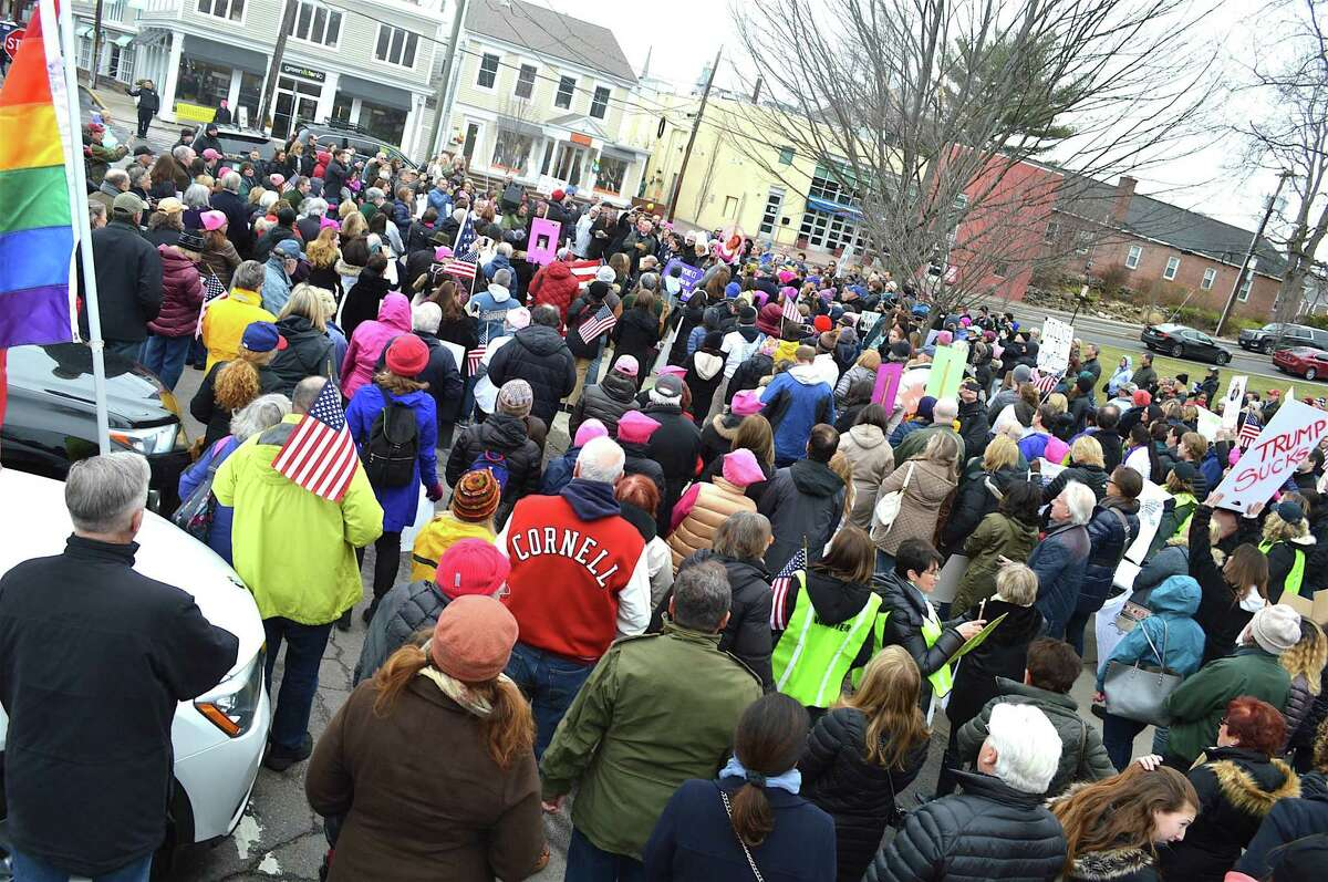 Between 1,500 and 2,000 people assembled on Jesup Green for the CT on the MOVE march from Jesup Green to Veterans Green, on Sunday, Mar. 26, 2017, in Westport, Conn. Folks will be on the green again this weekend rallying against hate toward the Asian community.