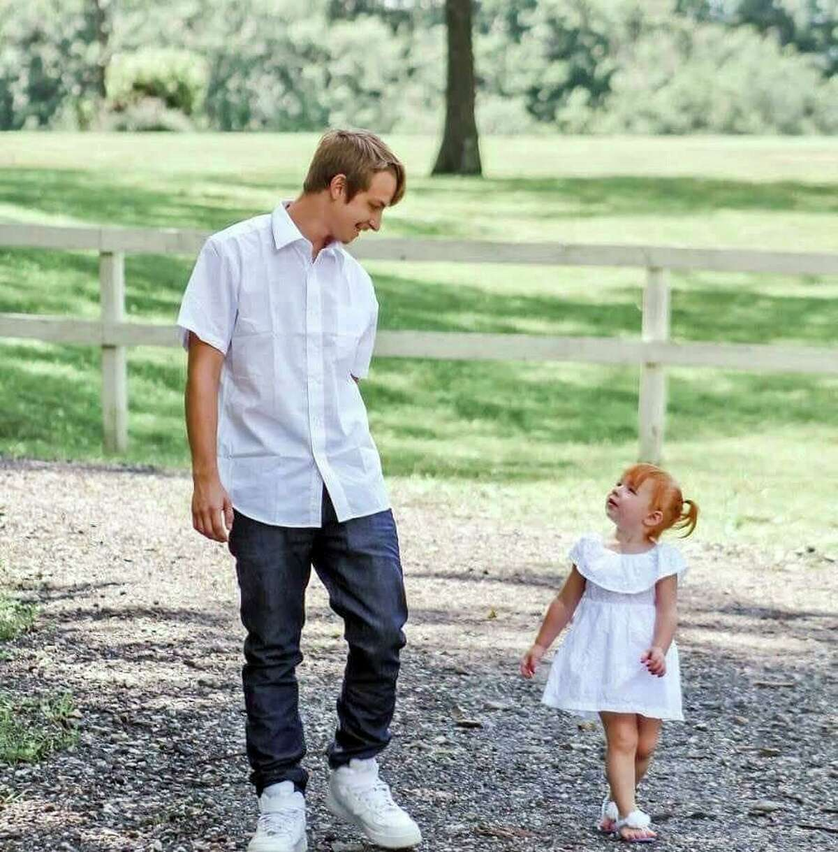 Brian Cody Waldron with his daughter Aubree two weeks before he died of an accidental overdose on Aug. 10, 2019.