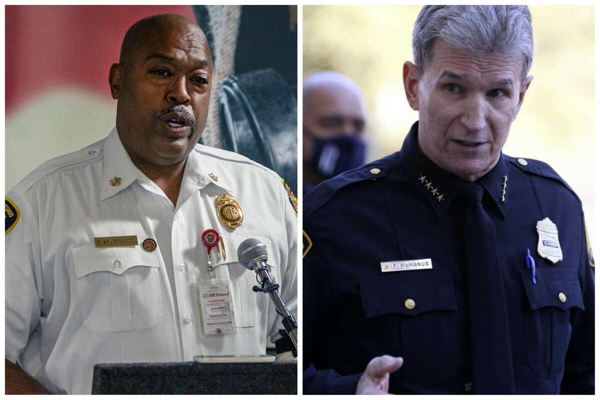 Fire Chief Charles Hood accused airport police officers of racial bias when they arrested his teen-age son. It caused a schism between him and Police Chief William McManus.