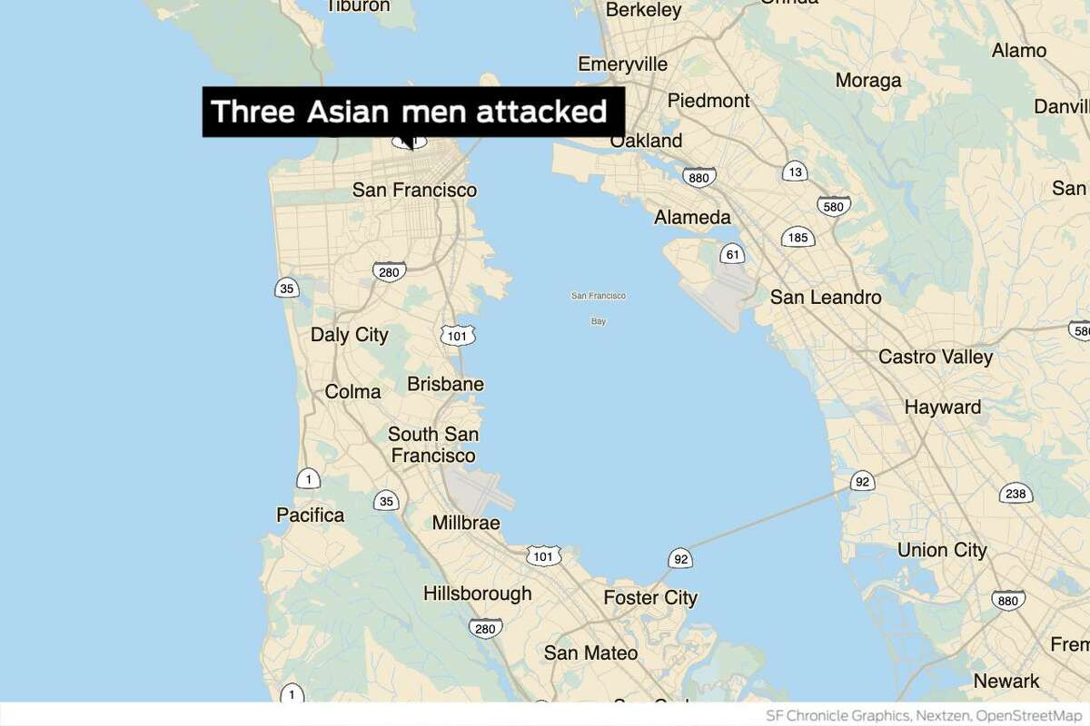 San Francisco police have arrested a suspect in what they're calling an unprovoked attack on three Asian men near Nob Hill on Monday, an altercation that began after one of the victims witnessed the suspect allegedly following two Asian women.